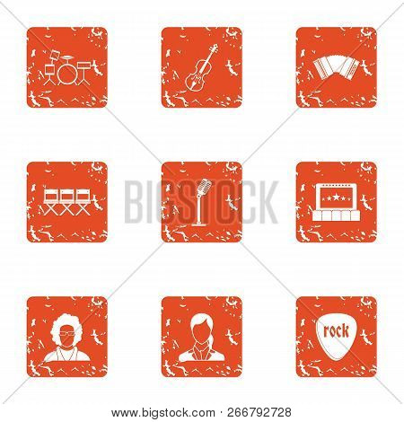 Recital Icons Set. Grunge Set Of 9 Recital Icons For Web Isolated On White Background