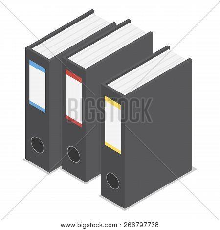 Black Office Folder Icon Set. Isometric Set Of Black Office Folder Icons For Web Design Isolated On