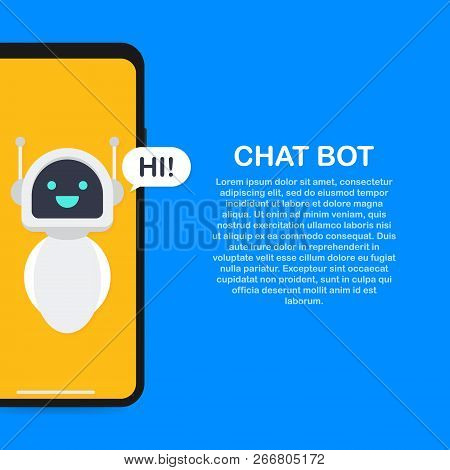 Chatbot Banner Concept. Horizontal Business Banner Template With Illustration Of Man Chatting With C