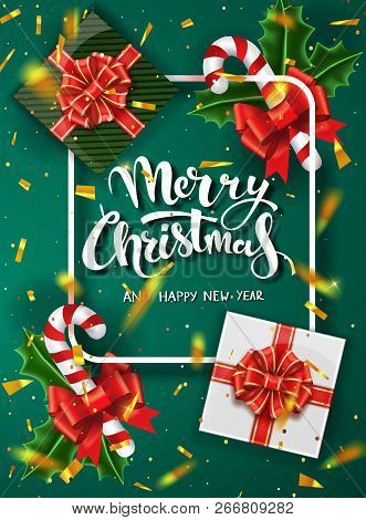 Christmas Green Design Vector Template. Calligraphic Merry Christmas Lettering Decorated. Christmas