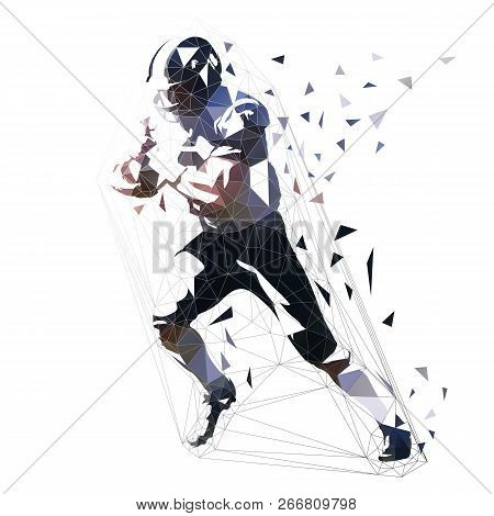 American Football Player, Low Polygonal Isolated Vector Illustration. Side View. Running Quarterback