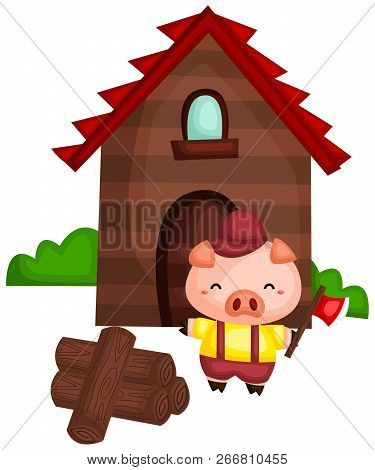 A Pig With A Wood House Made From The Wood He Chopped
