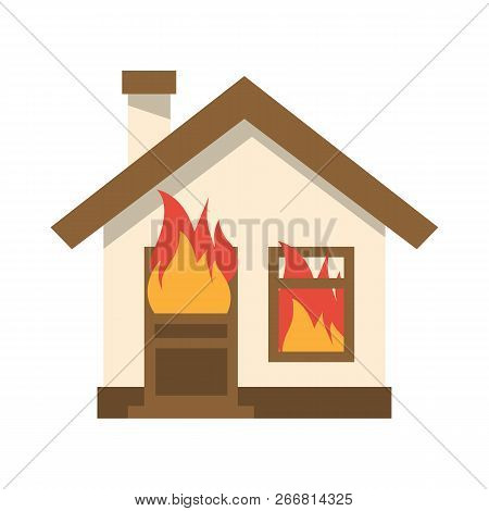 Burning House Icon. Flame In Home. Vector Illustration Flat Design. Isolated On White Background. Fi