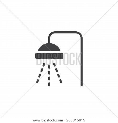 Shower Vector Icon. Filled Flat Sign For Mobile Concept And Web Design. Douche With Water Drops Simp