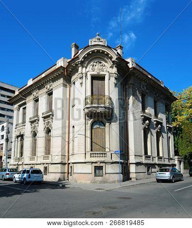 Drobeta Turnu Severin, Romania - 10.08.2018: Art Museum Landmark Facade Architecture