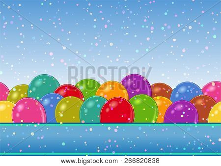 Horizontal Seamless Background With Various Colorful Balloons, Beautiful Tile Pattern For Your Desig