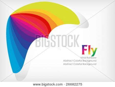abstract colored glider over a white background