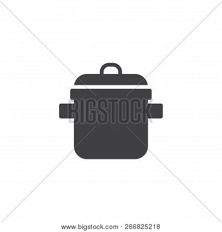 Cooking Pot Vector Icon. Filled Flat Sign For Mobile Concept And Web Design. Casserole Simple Solid