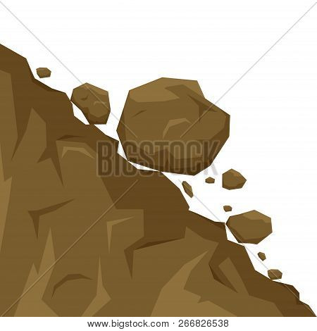 Landslide Isolated On White Background, Stones Fall From The Rock. Boulders Rolling Down A Hill. Roc