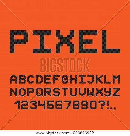 Pixel Style Font. 8-bit Game Alphabet. Vector.