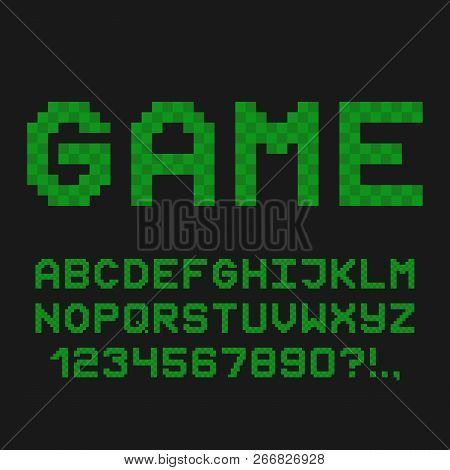 Pixel Style Alphabet. 8-bit Computer Video Game Font. Vector.