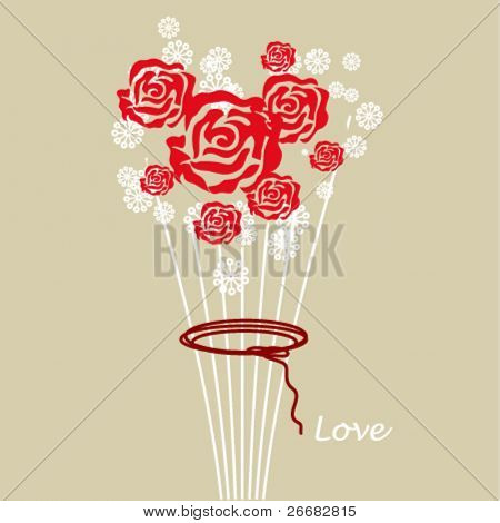 Romantic card with stylized roses bouquet
