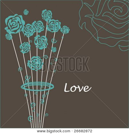 Romantic card with stylished roses bouquet