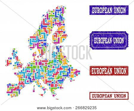 Mosaic Brick Style Map Of Euro Union And Grunge Rectangle Seals. Vector Map Of Euro Union Constructe