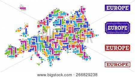 Mosaic Brick Style Map Of Europe And Grunge Rectangle Seal Stamps. Vector Map Of Europe Designed Wit