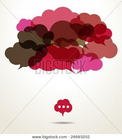 Assembled cloud speech bubbles