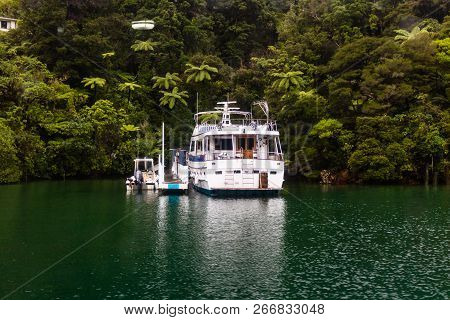 Rainy Day In Picton Harbor, New Zealand. Fishing Boats Floating In The Bay.