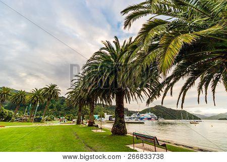Rainy Day In Picton Harbor, New Zealand.