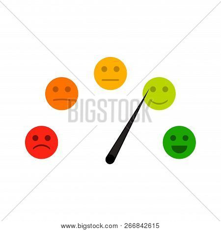 Credit Indicator With Mood Face Sad And Cheerful. Creditscore Meter Good And Bad Rate, Accuracy Gaug