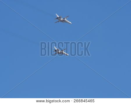 Su-24 Bomber. Jet Military Aircraft. The Parade In Honor Of The Navy Day. St. Petersburg /russia - A