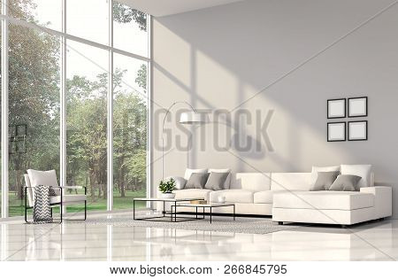 Modern Living Room Interior 3d Render.the Rooms Have White Floors And Gray Wall.furnished With White