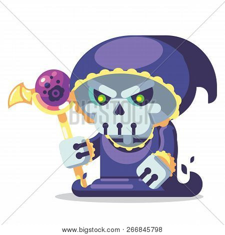 Fantasy Rpg Game Game Character Monsters And Heros Icons Illustration. Evil Necromancer Skeleton Lic