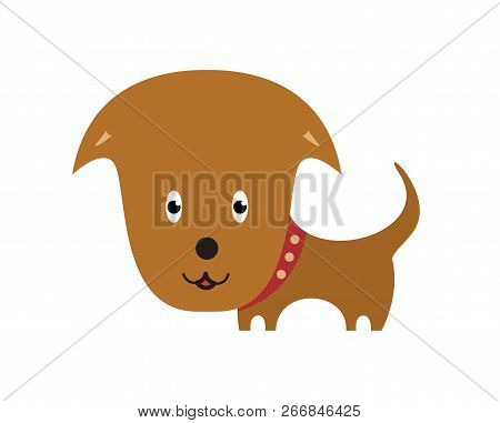 Happy Dog Cartoon. Cartoon Personage On White Background.