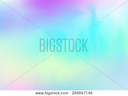 Hologram Fairy Tale Dreamy Vector Background. Rainbow Girlie Iridescent Gradient, Simple Holographic