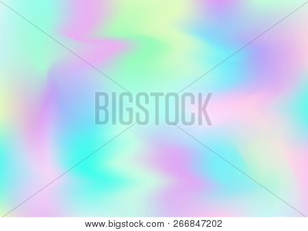 Hologram Vector Fairy Tale Dreamy Background. Holographic Rainbow Gradient Overlay, Modern Girlie Ir