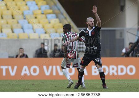 Rio, Brazil - November 03, 2018: Luiz Gustavo Player In Match Between Fluminense And Vasco By The Br
