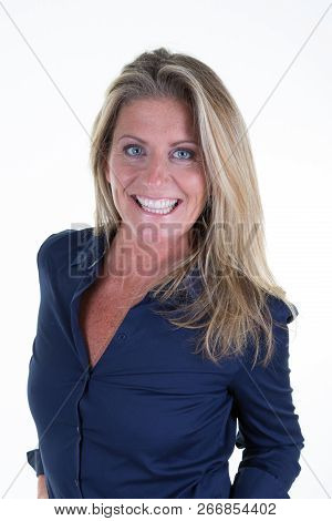 Beautiful Business Forties Woman With Blonde Hair Hairstyle Isolated White Background
