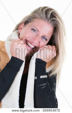 Smiling Beauty Forties Blond Woman In Winter Fur Clothes