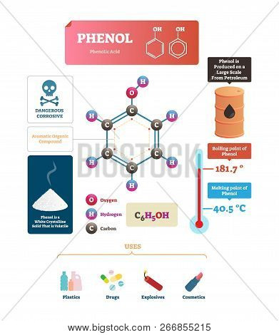 Phenol vector illustration. Labeled molecular acid structure and uses scheme. Chemical formula with oxygen, hydrogen and carbon organic ingredients. Diagram with temperature, melting and boiling point poster