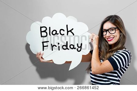 Black Friday Text With Young Woman Holding A Speech Bubble