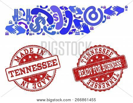 Business Contacts Combination Of Blue Mosaic Map Of Tennessee State And Rubber Stamps. Vector Red Se