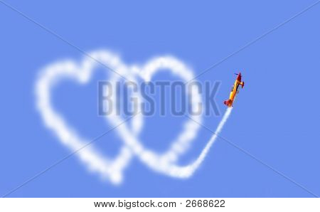 aeroplane drawing hearts