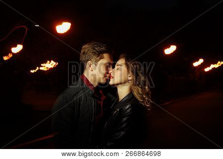 Black Background, Couple Dancing, Kissing In The Lights Of Light, Dance Of Light, Music Of Light, Ho