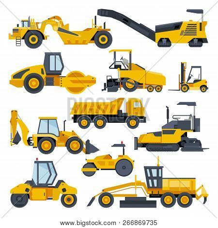 Excavator Road Construction Vector Digger Or Bulldozer Excavating With Shovel And Excavation Machine