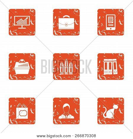 Thrifty Economy Icons Set. Grunge Set Of 9 Thrifty Economy Icons For Web Isolated On White Backgroun