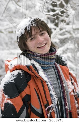 Boy In Scarf  Outdoors In Winter