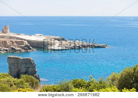 Torre Die Miggiano, Apulia, Italy - Overview Across The Bay Of Torre Miggiano