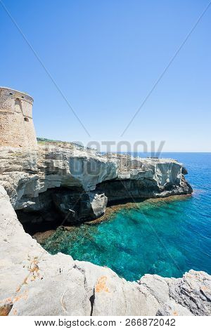 Torre Die Miggiano, Apulia, Italy - High Cliffs At The Defense Tower Of Miggiano