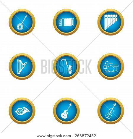Philharmonic Icons Set. Flat Set Of 9 Philharmonic Icons For Web Isolated On White Background