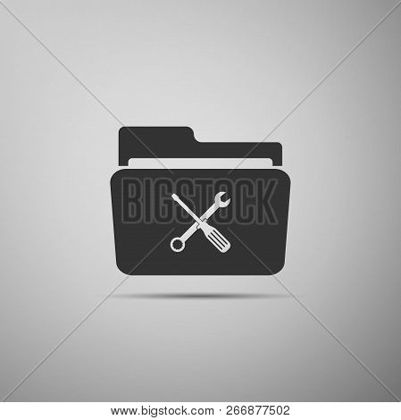 Folder And Tools Or Settings Icon Isolated On Grey Background. Folder With Wrench And Screwdriver Si