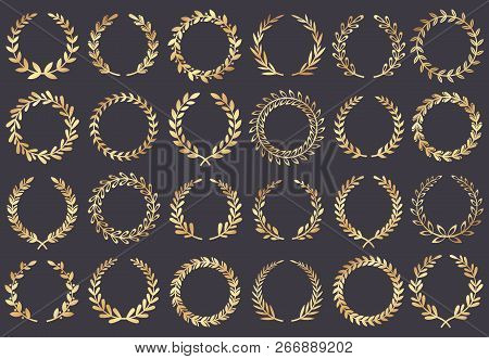 Golden Laurel Wreath. Movie Festival Awards, Winner Actress Awarded, Cannes Film Leaf Symbol Vector
