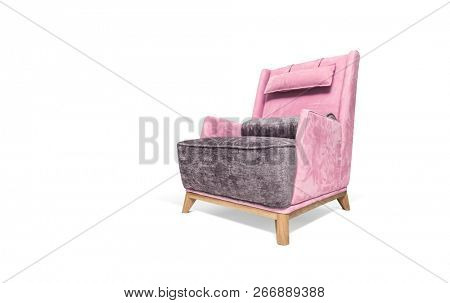 Pink modern luxury armchair on white background, included clipping path