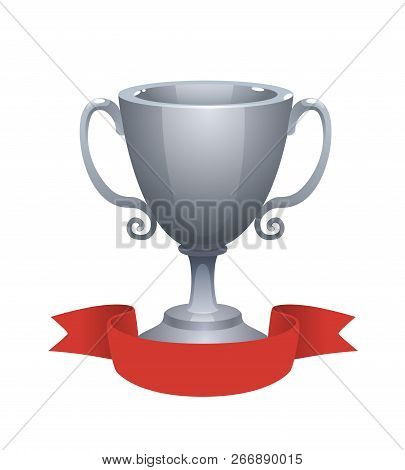 Silver Cup Trophy Award With Red Label. Prize For The Second Place. Shiny Trophy On White Background