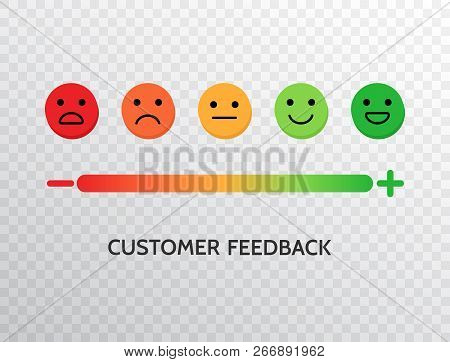 Feedback Design With Emotions Scale Background. Rating Satisfaction Concept. Set Of Feedback Icons I