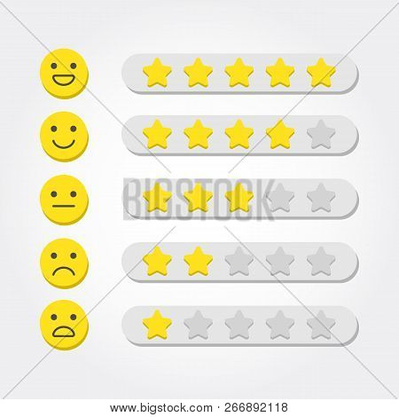 Feedback Concept. Five Stars Rating And Emoji Scale For Web And Mobile App. Feedback Consumer Or Cus