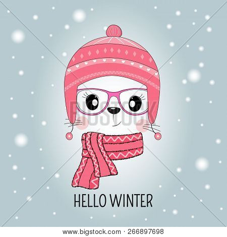 Cute Cat Face In Hat With Message Hello Winter Isolated In Blue Background.